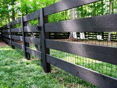 black wood pasture fence with black vinyl coated 2x4 welded wire by lee Garden Fencing, Garden Landscaping, Garden Landscape Design, Fence Design, Garden Bridge, Front Yard Landscaping, Garden Fences