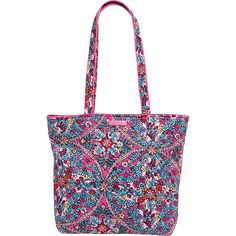 The Vera Bradly Iconic styles are a modern twist on the brand's classic silhouettes, refreshed with added functionality. Sometimes all you need is an all-day tote that won't let you down. This is it. The Kaleidoscope quilted cotton is colorful, lightweight, and packable. Exterior features a hidden zip pocket on back. Interior features four slip pockets and two pen pockets. Types Of Handbags, Kaleidoscope Quilt, Luggage Store, Medium Tote, Small Wallet, Beautiful Bags, Tote Handbags, Mini Bag, Vera Bradley