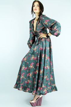 70s Sparkle Maxi Dress POP-ART Metallic Green by TatiTatiVintage