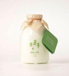 milk bottle natural tag label