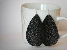 Black Textured Faux Leather Teardrop Earrings by BaublesbyB