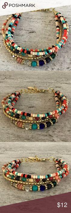 Boho Beaded Bracelet Boho beaded Bracelet Muli-colored mix of beads Adjustable clasp Brand new Jewelry Bracelets