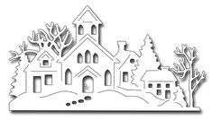 Frantic Stamper Precision Die - Winter Village-This one piece Winter Village die measures x This detailed die will create a fast winter scene for a quick card. Christmas Drawing, Christmas Art, Christmas Decorations, Xmas, Christmas Ornaments, Christmas Scenes, Paper Decorations, Simple Christmas, Christmas Holidays