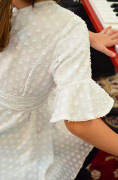 Vestido com babados nas mangas - Amorinha