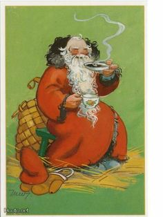 Vintage Christmas, Christmas Time, Christmas Cards, Carl Larsson, 23 November, Martini, Illustrators, Fairy Tales, Santa