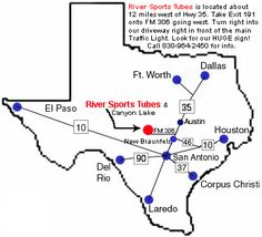 Maps and directions to River Sports Tube Rentals in Canyon Lake, Texas Canyon Lake Texas, River Sports, Guadalupe River, Traffic Light, Texas Hill Country, Rivers, Maps, Tube, Google Search