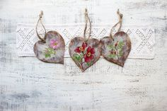 Wild rose wedding favors wooden heart ornaments Valentines day decor Valentine gift off white pink red green brown bridal shower party boho