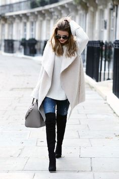 Winter / Fall Fashion fall / winter - street style - street chic style - casual outfits - fall outfits - winter outfits - white shearling vest + white oversized sweater + black over the knee boots + skinny jeans + grey handbag + aviator sunglasses Mode Outfits, Casual Outfits, Fashion Outfits, Office Outfits, Fashion Trends, Fashion 2016, Fall Fashion 2018, Sweater Outfits, Runway Fashion
