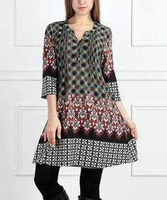 Look at this #zulilyfind! Green & Black Fleur-de-Lis Notch Neck Dress #zulilyfinds