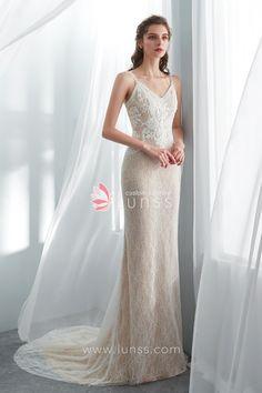 2208dc79433c1 Modern Champagne Spaghetti Strap Beaded Lace Mermaid Wedding Dress with  Sweep Train