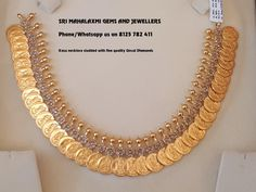 Kasu Necklace studded with Fine Quality Uncut Diamonds set in pressure setting 45 gms. Real Gold Jewelry, Gold Jewelry Simple, Gold Jewellery Design, Indian Jewelry, Gold Coin Necklace, Jewelry Patterns, Necklace Designs, Making Ideas, Bridal Jewelry
