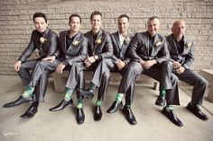 Funky socks for the groomsmen to match the colour of the bridesmaids dresses.