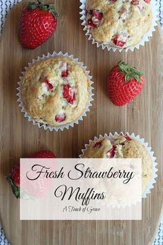 These fresh strawberry muffins are a family favorite. They are so simple to make and something everyone will enjoy. #muffins #strawberry