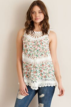 Floral Print Crochet Top - Cream