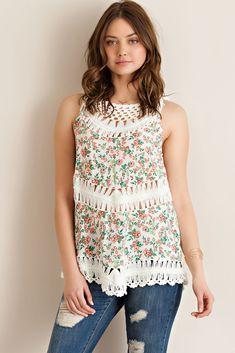 @knittedbelle #knittedbelle Floral Print Crochet Top - Cream