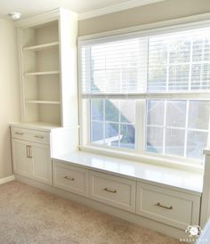 One Room Challenge Home Office Makeover - Built-in cabinets Flanking center room window with gold hardware- Filing Cabinets in Window Seat