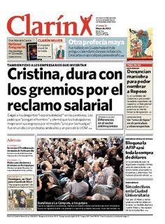 Cristina, dura con los gremios por el reclamo salarial. Más información: http://www.clarin.com/edicion-impresa/