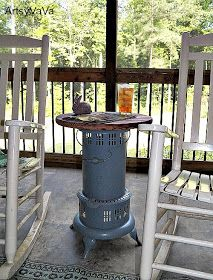 vintage kerosene heater table for outdoor porch furniture Porch Furniture, Garden Furniture, Outdoor Furniture, Outdoor Decor, Pallet Furniture, Outdoor Ideas, Outdoor Spaces, Wooden Table Top, A Table