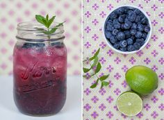 A refreshing blueberry mojito is good all year-round. Like the mint leaves, the mason jar glass is a must.