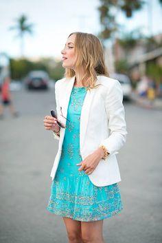 Blue Silk Sleeveless Shift Cynthia Vincent Dress