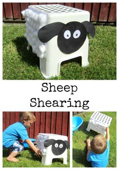 Sheep Shearing Simple fine motor activity based on sheep. Great for farm animal topic and outdoor play. Sheep Shearing Simple fine motor activity based on sheep. Great for farm animal topic and outdoor play. Farm Animals Games, Farm Animals Preschool, Farm Animal Crafts, Farm Games, Sheep Crafts, Animal Art Projects, Farm Crafts, Animal Games, Preschool Crafts