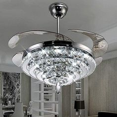 Information Online Lighting Groups Invisible Ceiling Fans 4 Circles Crystal Ceiling Fan inch Transparent Retractable Blades Remote Control Electric Fan Chandelier With LED Three Color Lights -for Indoor (Silver) Fancy Ceiling Fan, Shop Ceiling Fans, Modern Ceiling Fans, Best Outdoor Ceiling Fans, Ceiling Fan Chandelier, Led Ceiling, Ceiling Tiles, Ceiling Light Fixtures, Fan Lamp