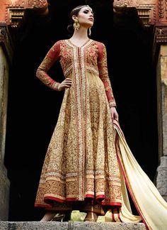 Beige Net Heavy Zari Embroidered Anarkali Suit