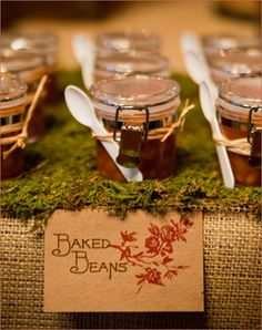 baked beans in mini jars - so cute for rustic or camping themes