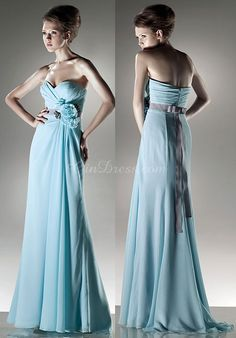 Long Sweetheart Natural Waist Flowers Sleeveless Chiffon Bridesmaid Dress picture 3
