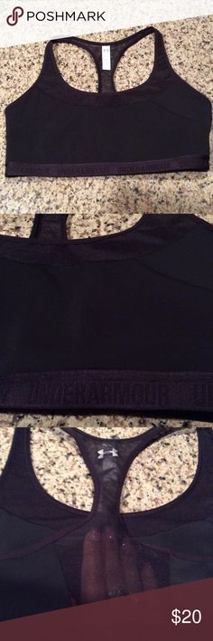 Under Armour sports bra All black. Back racerback is see-through mesh. Please see photo of size chart. mid-impact/compression support. Under Armour Intimates & Sleepwear Bras