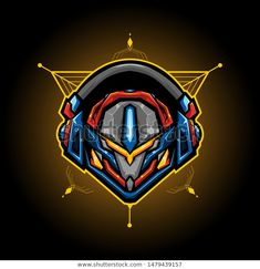 robotic head mecha illustration for t shirt or badge. vector with modern style , sacred geometry background - Buy this stock vector and explore similar vectors at Adobe Stock Gundam Head, Robot Logo, Vector Design, Logo Design, Graphic Design, Skull Logo, Sacred Geometry, Badge, Illustration