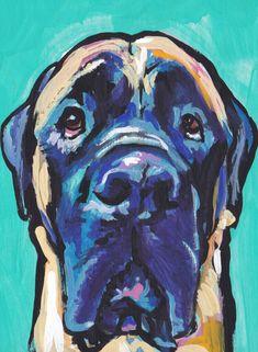 English Mastiff portrait art print modern Dog pop art bright