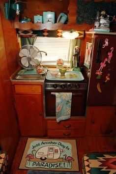 1963 Shasta - the mat in front of the stove - to DIE FOR