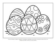 Dibujos de pascua de resurrección para colorear: huevitos de pascua #imprimir #colorear #imprimible #DibujosParaColorear #Easter #Pascua