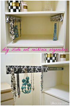how to make slide out hanging organizers for closets, closet, diy, how to, organizing, Utilize deeper shelving space in the closet by adding a slideout jewelry hook organizer