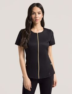 Biker Top in Black is a contemporary addition to women's medical scrub outfits. Shop Jaanuu for scrubs, lab coats and other medical apparel. Scrubs Outfit, Scrubs Uniform, Cute Scrubs, Dress Attire, Womens Scrubs, Medical Scrubs, Lady Biker, Work Wardrobe, Womens Fashion For Work