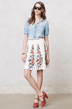 Embroidered Terrasse Skirt #anthropologie