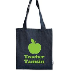 Personalised Apple Tote bags - personalise them online at www.macaroon.co.za