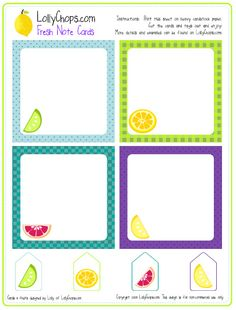 Free Printable Notes, Tags and Labels   Living Locurto - Free Party Printables, Crafts & Recipes