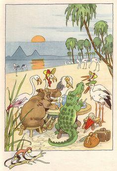 """October. """"Von den wunderlichen Leuten und den vier Jahreszeiten"""", illustrated by Fritz Baumgarten, 1958."""