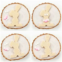Easter bunny cookies, sugar cookies with royal icing, cookie decorating, decorated cookies Easter Cookie Recipes, Easter Cookies, Royal Icing Cookies, Sugar Cookies, Owl Cookies, Flood Icing, Royal Icing Transfers, Cookie Wedding Favors, Pink Icing