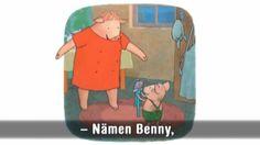 Animerad saga med text som man kan läsa samtidigt som man lyssnar och tittar. Egentligen är Benny världens lyckligaste gris, men just nu har han tråkigt. Han tycker att mamma bara städar och för oväsen. Då ger han sig ut i vida världen där det händer roligare saker.