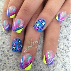 Bright, neon, various color graffiti style lines solid blue accent nail with leopard spots, free hand nail art Creative Nail Designs, Cute Nail Designs, Creative Nails, Funky Nails, Blue Nails, Bright Nails, Get Nails, Hair And Nails, Spring Nails