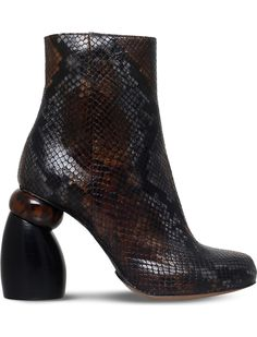 DRIES VAN NOTEN - Snake-embossed leather ankle #boots