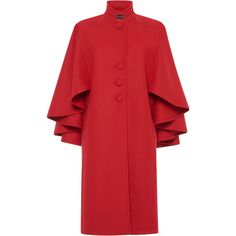 Rossella Jardini Knee Length Cape Coat ($1,155) ❤ liked on Polyvore featuring outerwear, coats, red, knee length coat, rossella jardini, stand collar coat, red cape coat and red coat