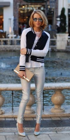 We're loving colorblock varsity jackets! Style Tip: Pair with a neutral blouse and jeans for a casual but edgy look.