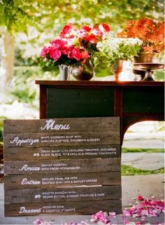 Different font... but I like the idea of doing a menu on a pallet or reclaimed wood.