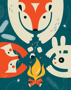 Campfire Friends print by TracyWalkerInk Childrens Decor
