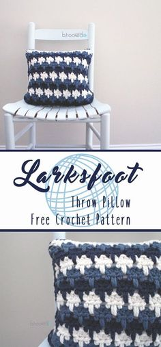 Make this gorgeous Larksfoot Throw Pillow with Lion Brand Wool-Ease Thick & Quick! Free crochet pattern by B.Hooked Crochet!