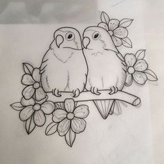 New Snap Shots Fabric painting animals Style , Pencil Art Drawings, Bird Drawings, Art Drawings Sketches, Animal Drawings, Easy Drawings, Sketch Drawing, Love Birds Drawing, Bird Sketch, Drawings To Trace